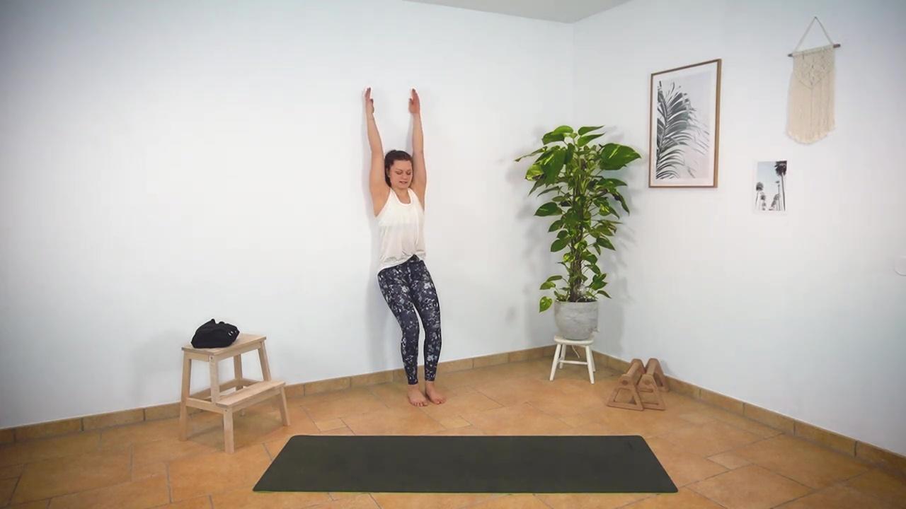 Um die Schultermobilität zu testen, kannst du folgende Übung ausführen: Stelle dich an eine Wand, lehne dich mit dem Rücken an und winkle die Beine leicht an. Dann nimmst du die Arme nach oben, bis sie die Wand berühren. Wenn du diese Übung meisterst, reicht deine Schultermobilität für einen Handstand aus.
